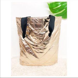 Victoria's Secret rose gold metallic tote bag